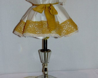 Crystal Table Lamp with White and Gold Shade