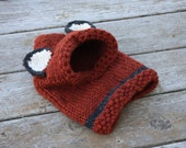 Knit toddler fox cowl hood in super chunky yarn 12-18 months Ready to ship