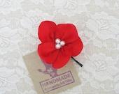 Red Flower Hair Pin. Red Flower Hair Piece. Bridesmaid Hair Accessory.