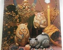 Just Kitten Around//Teresa Flatness Paper Mache Cats Uncle Sam Pies
