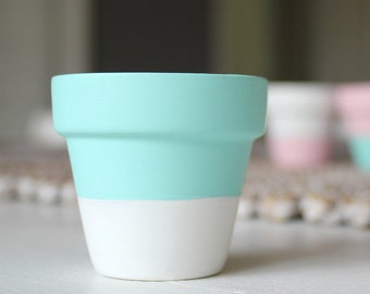 Set of 3 dip dyed mini terracotta pots - aqua and white or pink and white