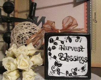 Harvest Blessings-Boo Reversible Hand Painted Glass Block