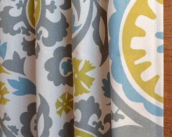 SUMMER SALE! Curtains, Window Treatments, Nursery Baby Room Decor, Curtain Panels, Suzani Summerland Natural shown