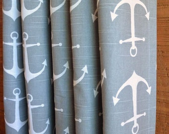 SUMMER SALE! Curtains, Nursery Baby Room Decor, Beach House Curtain Panels, Sailor Ash Grey White shown, MORE Colors Available