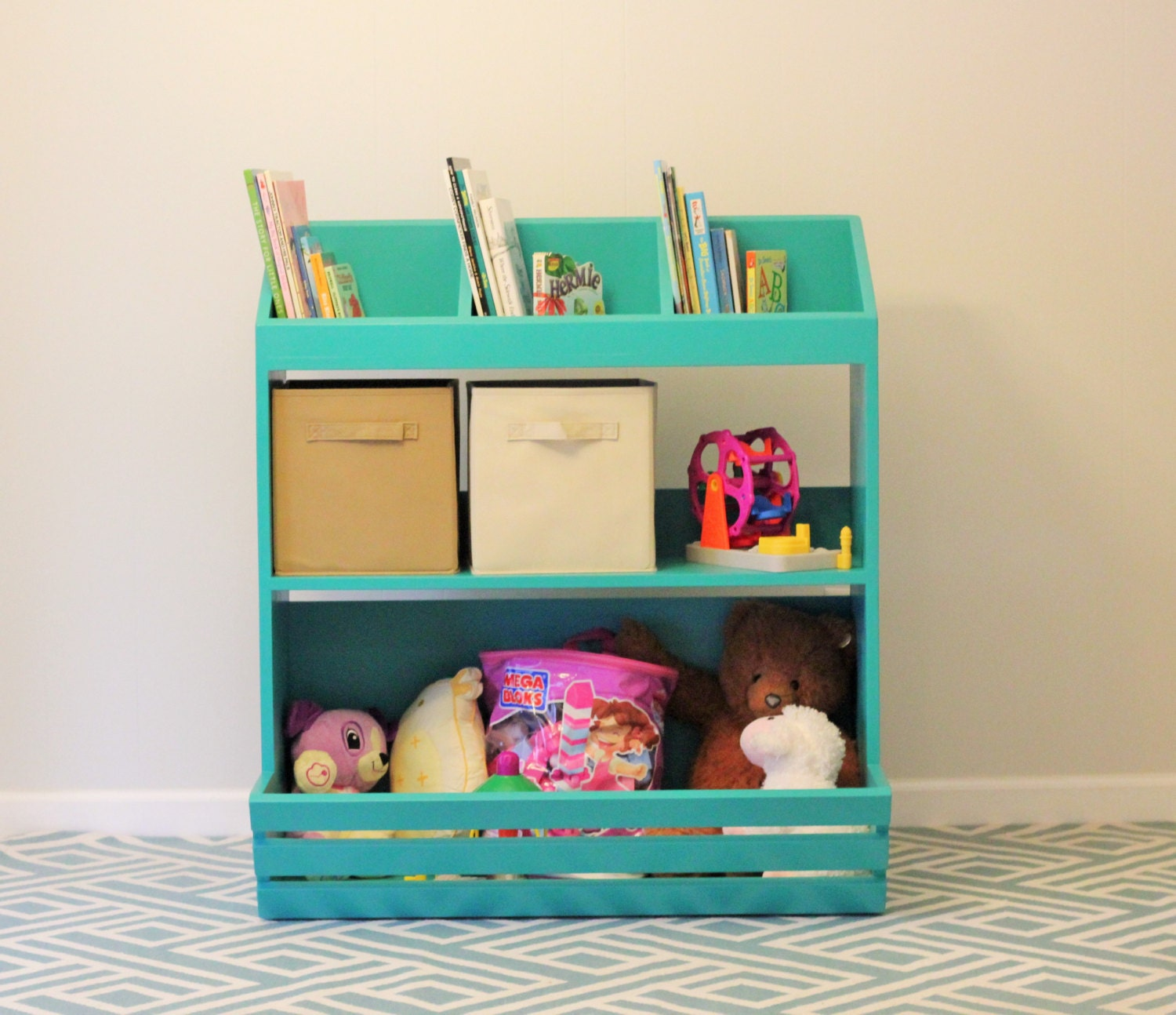 Amazing photo of Painted Wood Storage Shelves/Toy Box by YodersWoodedLot on Etsy with #309B8E color and 1500x1294 pixels