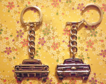 2 Vintage Silverplated 65 Mustang Key Chains