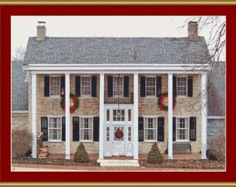 Village House Cross Stitch Pattern