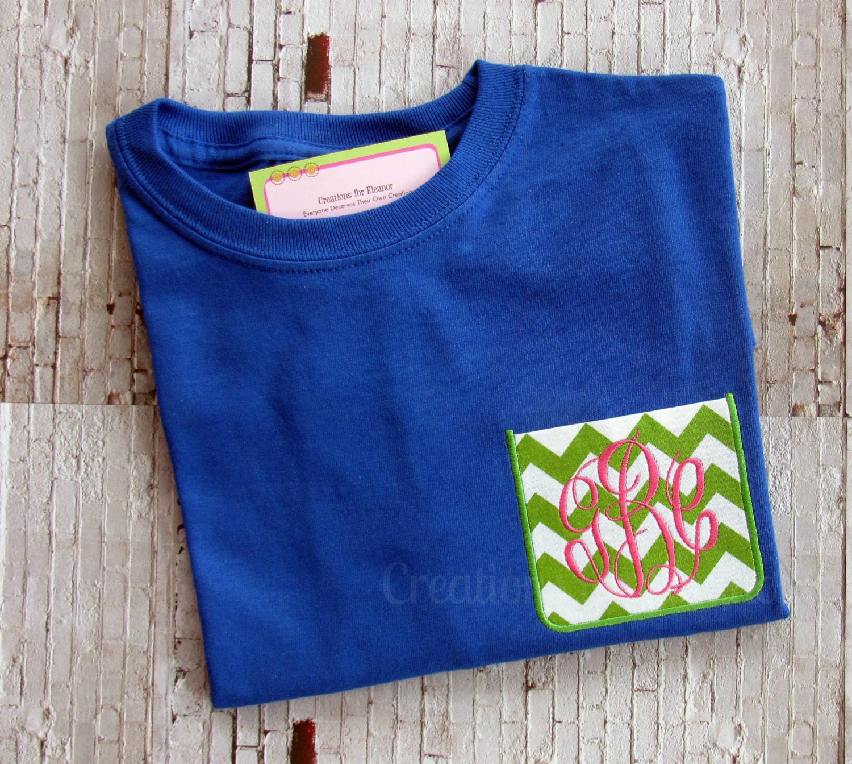 Girls monogrammed pocket t shirts long sleeve pocket t for Custom pocket t shirts