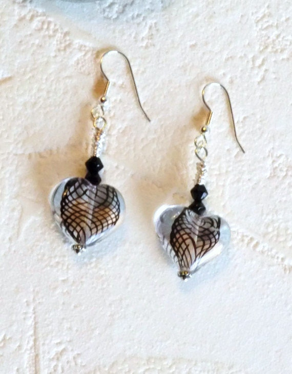 Glass Heart Earrings with Wire Wrapping