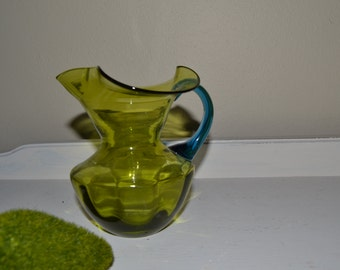 Vintage Glass Pitcher Green and Blue Hand Blown Glass Vase Pitcher