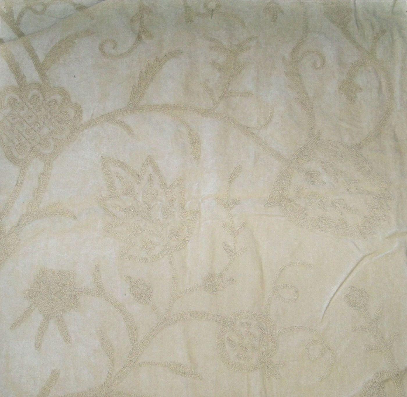 Pasari jakara jacobean wool crewel embroidered velvet fabric