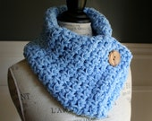 Baby Blue Cowl Neck Scarf with wooden button, crocheted