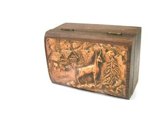 Antique Jewelry Box Copper Animal Deer Wildlife Wood Box, Vintage Wooden Home Decor Box, French Handmade Jewelry Box