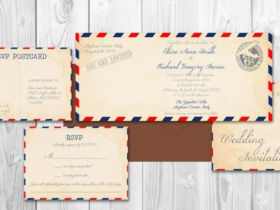 AIRMAIL WEDDING Invitations VINTAGE Printable Diy