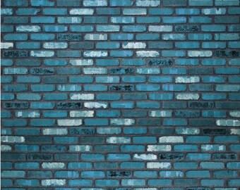 Rich Blue Brick - Exclusive - Vinyl Photography Backdrop Floordrop Prop