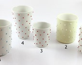 Custom Order for Jo Ann, 4 cups with forest green dots :)