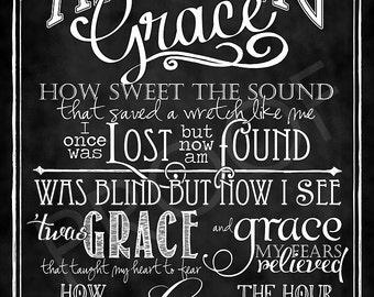 """Art: """"Amazing Grace"""" Hymn chalkboard style"""