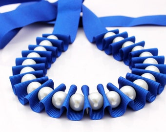 Ribbon jewelry, blue pleated pearl ribbon necklace