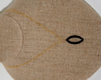 Margaux Necklace: Black spinel marquise pendant on double strand of 14k gold-filled chain