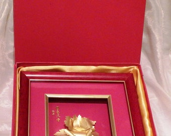 Asian Chinese Flower Petrified in 22K Gold Framed in Box