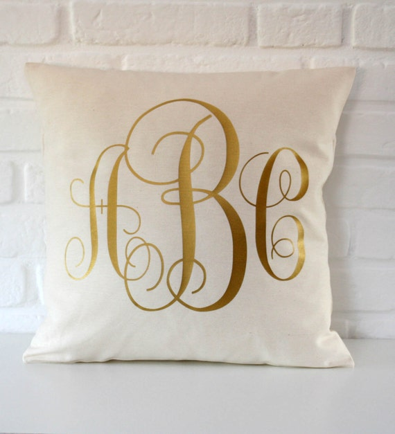 How To Make A Monogram Throw Pillow : Items similar to Personalized Monogrammed pillow - Gold throw pillow cover - 16x16 18x18 20x20 ...