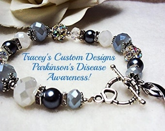 Beautiful PARKINSON'S DISEASE AWARENESS Bracelet - Custom made jewelry.