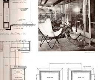1955 ARCHITECTURAL DETAILING Hornbostel mid century modern house design plans book
