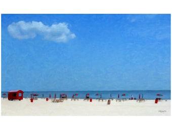 Colorful Beach Umbrellas Glicee Print Original Nautical Coastal Seashore 9x15, 12x20, 18x30 - Gulfport Beach - Korpita ebsq