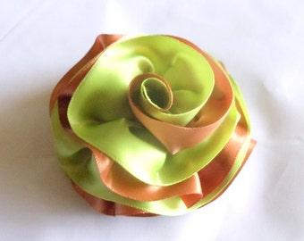 Hair Flower Barrette Apple Green and Copper - Bridal Hair - Wedding - Bridesmaids - Formal Hair - Fascinator