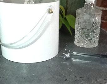 Mid Century Mod Lucite and Vinyl Ice Bucket Mad Men Barware Shelton-Ware