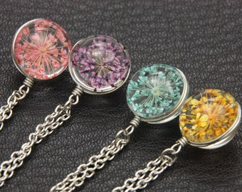 Necklace Dry flower Double sided cabochon rose/purple/mint/ yellow