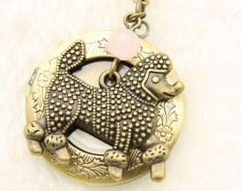 Poodle Necklace,  Poodle locket, little dog necklace