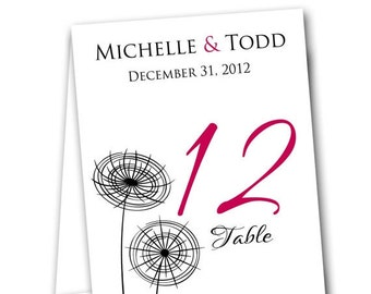 Dandelion Table Tent Numbers