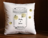 Mason Jar Pillow Personalized with the Bride and Groom Names and Wedding Date