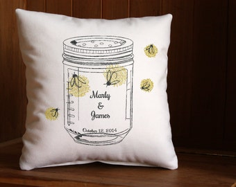 Mason Jar Firefly Pillow Personalized with the Bride and Groom Names and Wedding Date