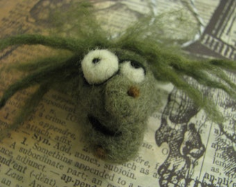 Hanging Witch Ornie, green, warty, Halloween, needle felted