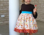 Falling Leaves Thanksgiving Dress Size 12 Months to 8 Years