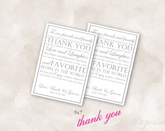 5X7 Wedding reception thank you place setting cards grey Instant Download Just add your info and print!