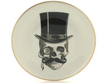 "Altered Lord Skull Vintage Plate Porcelain 7.48"" Halloween Decor Top Hat Moustache Monocle Golden Rim Decoration Fun Funny Skeleton  Human"