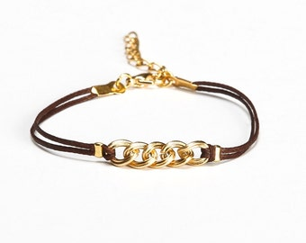 Bracelet for her, brown bracelet, gold chain, brown cord, bracelet for small wrist, minimalist jewelry, summer jewelry, friendship bracelet