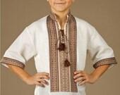 Ukrainian embroidered shirt for boys. Ukrainian embroidery linen natural color or linen white. Ukrainian embroidery shirt mens modern