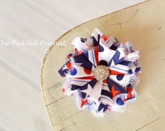 4th of July Baby Bow Red White Blue Baby Headband Military Homecoming Baby Hair Clip July 4th Baby Bow July 4th Hair Clip July 4th Headband