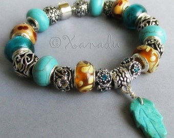 Turquoise Enchanted Forest European Charm Bracelet With Genuine Turquoise Gemstone Beads And Amber Brown Handmade Lampwork Glass Beads