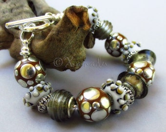 Safari At Dusk European Charm Bracelet With White Grey Lampwork Glass And Brown Indonesian Clay Beads