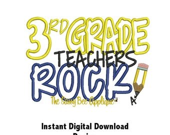 DD 3RD GRADE Teachers Rock Applique Pattern - Machine Embroidery Design - 2 Sizes - Fits 3 Hoops - Instant Download