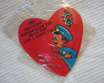 Vintage E. Rosen Company Valentine Card was attached to a Chocolate Pop