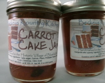 Two Jars of Homemade Carrot Cake Jam by Beckeys Kountry Kitchen jam jelly fruit spread preserves