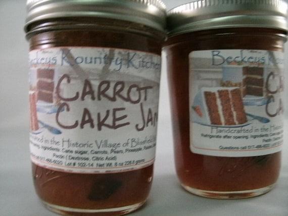 Two Jars of Homemade Carrot Cake jam handmade jelly fruit spread fruit preserves