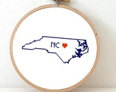 North Carolina Map Cross Stitch Pattern. NC State Needlepoint pattern highlighting Raleigh. USA decor