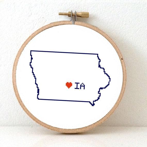Iowa map cross stitch pattern art ornament